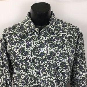 Alan Flusser Button Up Shirt Paisley White XXL